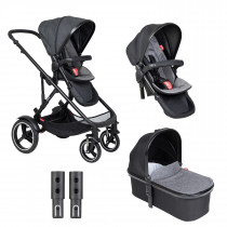 Voyager Buggy & Carrycot - Twin Package - Charcoal