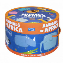 Book And Giant Puzzle Round Box -Animals Of Africa