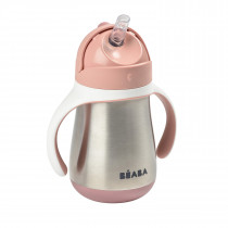 Stainless Steel Straw Cup  Old Pink