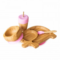 Elephant Plate, Straw Cup, Bowl & Spoon combo in Pink