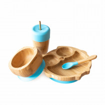 Owl Plate, Straw Cup, Bowl & Spoon combo in Blue