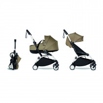 Complete BABYZEN stroller YOYO2 FRAME White & 0+ newborn pack Toffee and 6+ color pack
