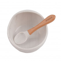 Silicone Bowl + Spoon Set - Marble