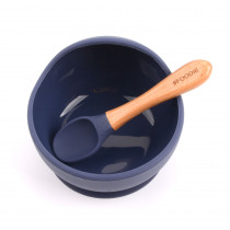 Silicone Bowl + Spoon Set -  Midnight Blue