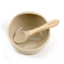 Silicone Bowl + Spoon Set - Barely Nude