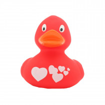 Bath Toy-Duck with White Hearts - Red