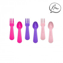 LUNCH PUNCH FORK AND SPOON SET - PINK