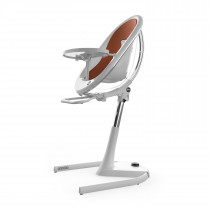 Moon Full Set (Highchair + Seat Pad + Cushion Set + Footrest) - White Frame-Camel (FREE Moon Seat Pad SILVER)