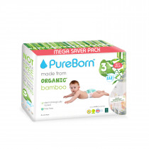 PureBorn Size 3 value packs 5.5 to 8 Kg 112 pcs - Flowers