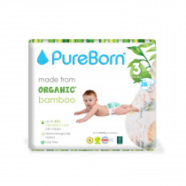 PureBorn Size 3 single pack nappy  5.5 to 8 Kg 28 pcs - Flowers
