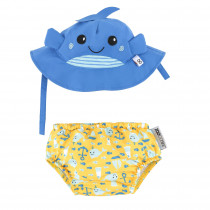 Baby Swim Diaper & Sun Hat Set - Whale