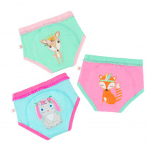 3 Piece Organic Potty Training Pants Set - Girls - Woodland Princesses