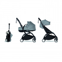 Complete BABYZEN stroller YOYO2 FRAME Black &  0+ newborn pack Grey and 6+ color pack