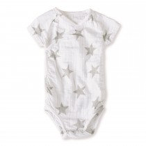 Short-Sleeved Bodysuit- Medium Silver Star 6-9 M