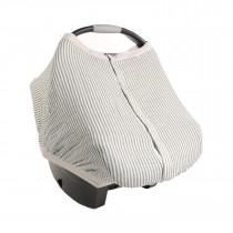 Cotton Muslin Car Seat Canopy 2 - Grey Stripe