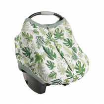 Cotton Muslin Car Seat Canopy 2 - Tropical Leaf