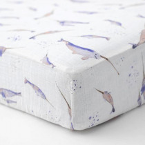 Cotton Muslin Crib Sheet-Narwhal
