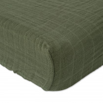Cotton Muslin Changing Pad Cover - Fern
