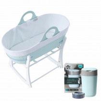 Baby's Nest Bundle 2 (contains Sleepee Baby Moses Basket, Grobag Newborn Swaddle,Nappy Disposal Sangenic Tec Bin)