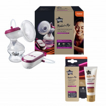 Tommee Tippee Made for Me Breast Feeding Combo -6 (contains Electric Breast Pump, very quiet USB rechargeable & portable unit with Massage & express modes, 100% Natural Hypoallergenic Nipple Cream 40ml)