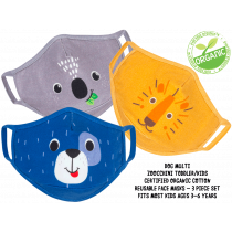 Kids Organic Reusable Cloth Face Masks 3 Pc Set - Dog Multi