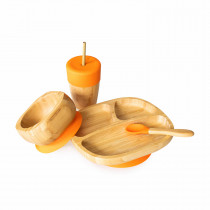 Toddler Plate, Straw Cup, Bowl & Spoon combo in Orange