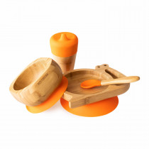 Snail Plate, Feeder Cup, Bowl & Spoon combo in Orange
