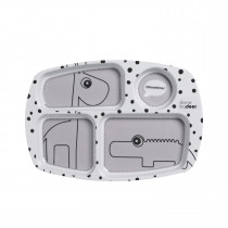 Compartment plate Happy dots - Grey