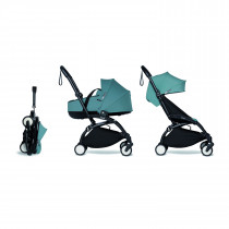 Complete BABYZEN stroller YOYO2 FRAME Black &  0+ newborn pack AQUA and 6+ color pack