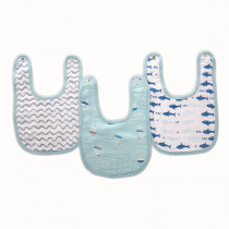 ADEN 3-Pack Classic Snap Bibs MAKING WAVES