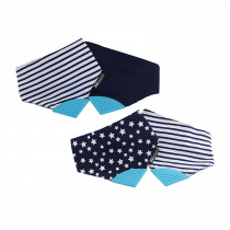 Reversible 2 In 1 Teething Bib Stars & Strips Navy Blue