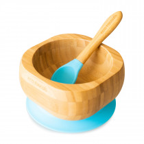 Baby Bowl and Spoon Set: Bamboo Suction Bowl with Spoon  -  Blue