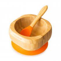Baby Bowl and Spoon Set: Bamboo Suction Bowl with Spoon - Orange