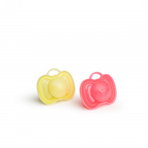 HeroPacifier 0m+ (2 Pack) Coral/Yellow