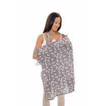 Nursing Cover- GRAY/ WHITE FLOWING FANS