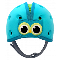 Soft Helmet For Babies Learning To Walk - Owl Blue Green