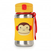 Zoo Stainless Steel Straw Bottle - Monkey