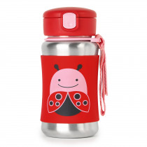 Zoo Stainless Steel Straw Bottle - Ladybug
