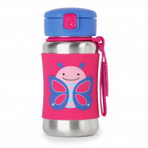 Zoo Stainless Steel Straw Bottle - Butterfly