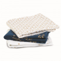 3 Pack Musy Muslin Squares - Metallic Gold Deco
