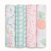 Essentials 4 Pack Swaddles - Tropicalia
