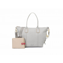 Roxy Vegan Leather Diaper Bag -Pale Grey