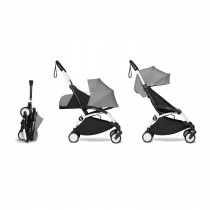 complete BABYZEN stroller YOYO2 0+ and 6+  White Frame & Grey