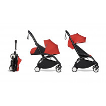 complete BABYZEN stroller YOYO2 0+ and 6+  Black Frame & Red