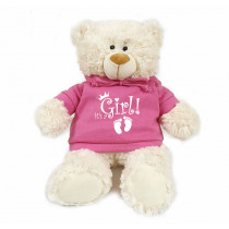 Cream bear with white It's a Girl! on trendy pink hoodie
