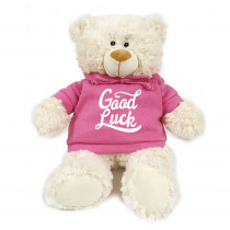 Cream Bear with Good Luck on Pink