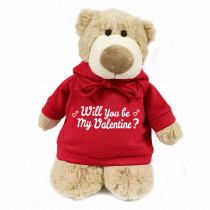 Mascot bear with trendy red hoodie - Will you be my Valentine