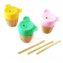 Bamboo Cup W Lids - Yellow