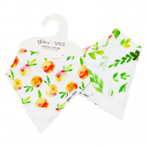 Double Sided Organic Chew Bib - Peaches / Foliage