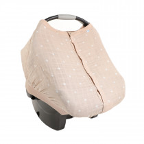 Cotton Muslin Car Seat Canopy 2 - Taupe Cross